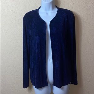 CHICOS TRAVELERS CARDIGAN DUSTER SZ 1 ROYAL BLUE